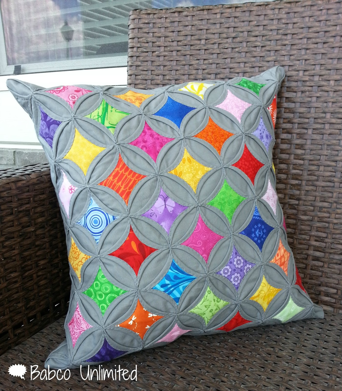 Babco unlimited a friday finish cathedral windows pillow for Window quilts