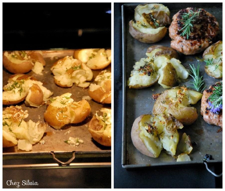 Hamburguesa de pollo con patatas al romero y tomillo olla r pida chez silvia - Patatas en olla rapida ...