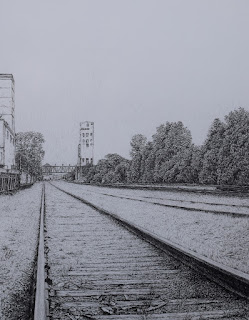 Pencil drawing, graphite, minneapolis, skyline, bunge, tower, railroad tracks, art by john huisman