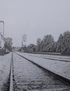 Pencil drawing, graphite, minneapolis, skyline, bunge, tower, railroad tracks, art by john huisman
