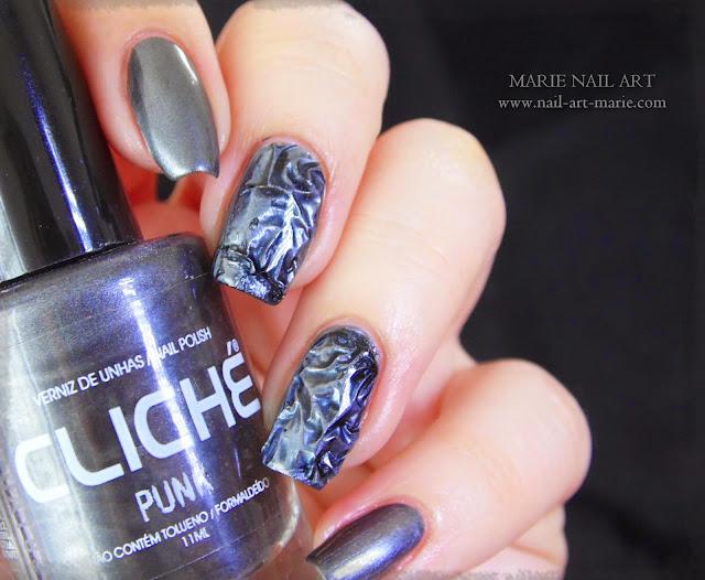 Nail Art effet métal froissé 3D9