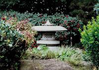Stone lantern in Japanese Gardens, Central Park, San Mateo