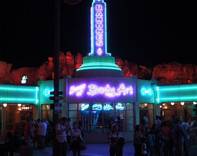 Ramone's House of Body Art neon in Cars Land