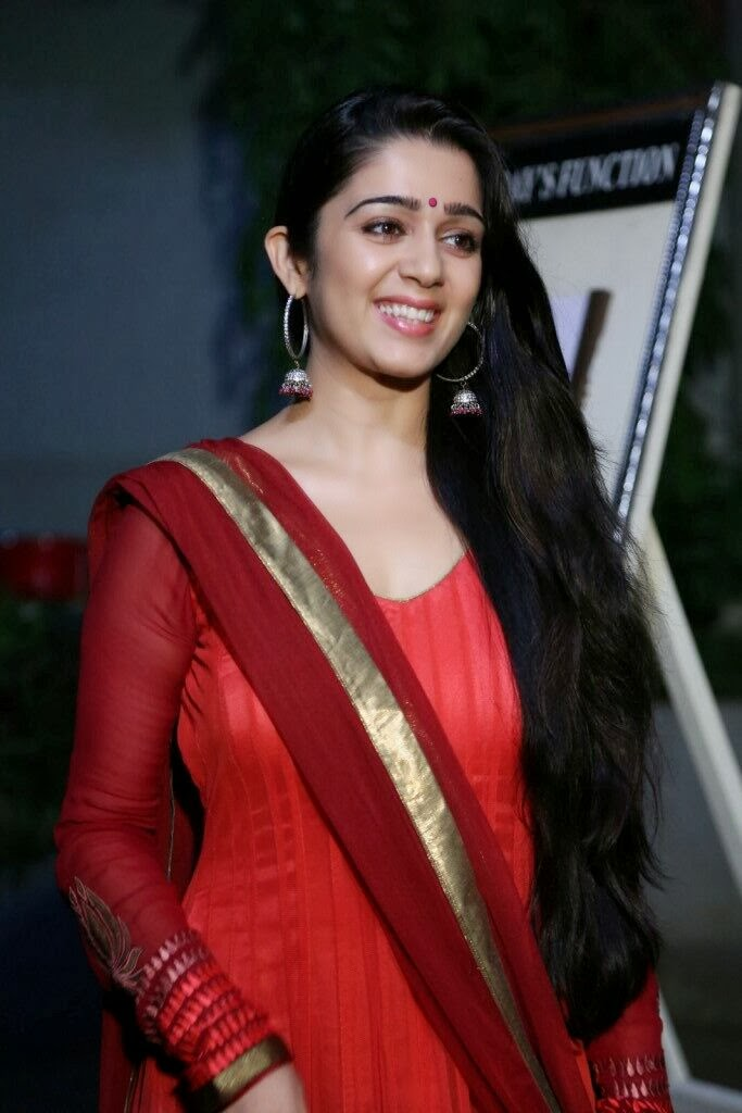 Charmi Kaur in Red Salwar Kameez at Country Club New Year Bash 2014