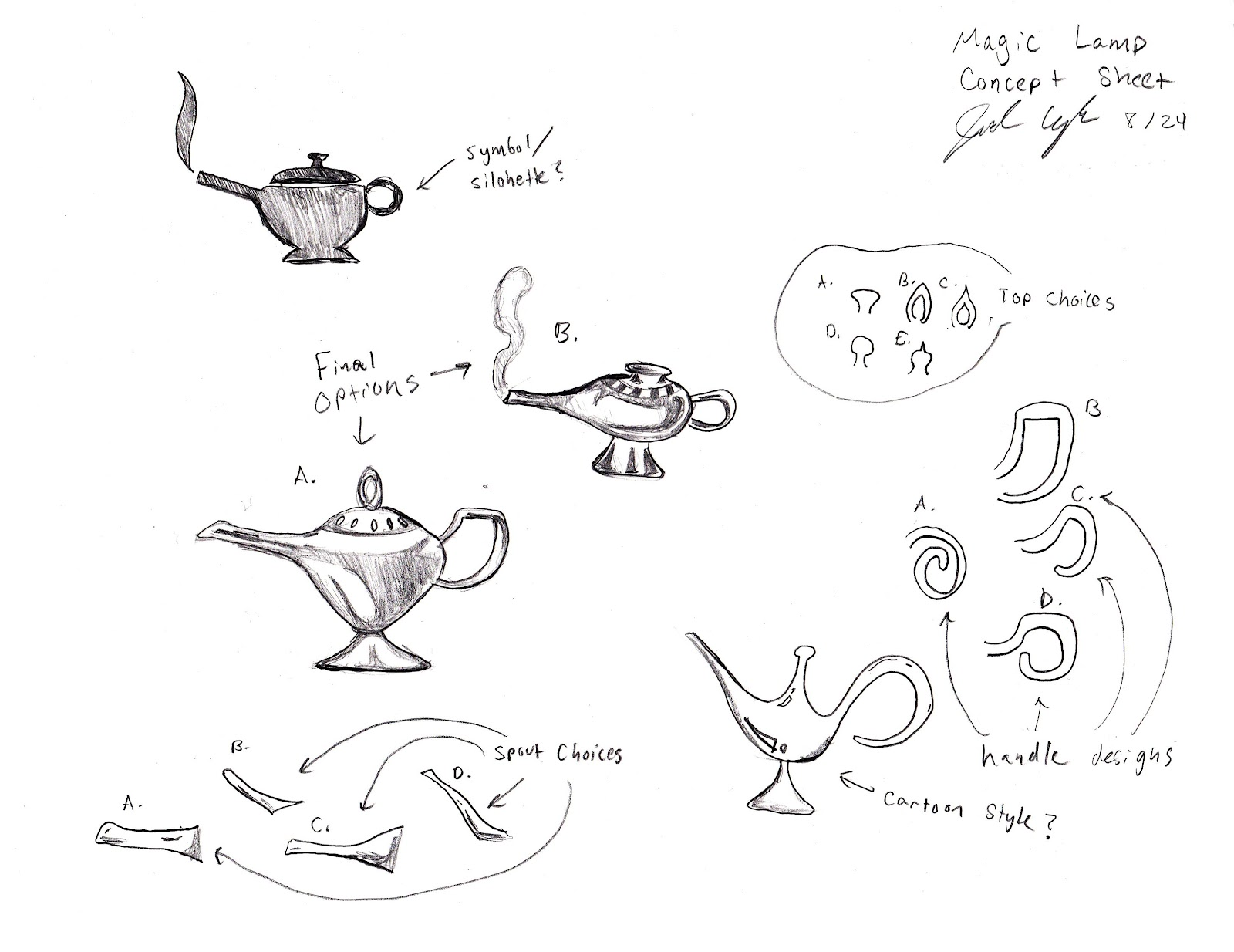 Jonathan Kaplan: The Magic Lamp: Concept Sheet, Drawing, 3D Model ... for Magic Lamp With Smoke  174mzq