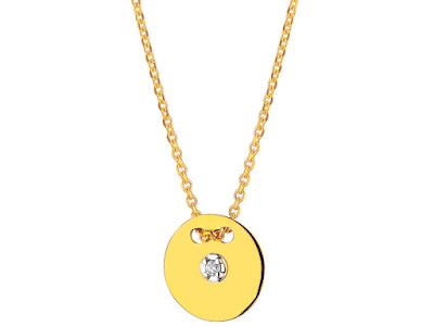 Apart kolekcja Magic Moments minimalistyczny naszyjnik z brylantem z żółtego złota na prezent moda biżuteria