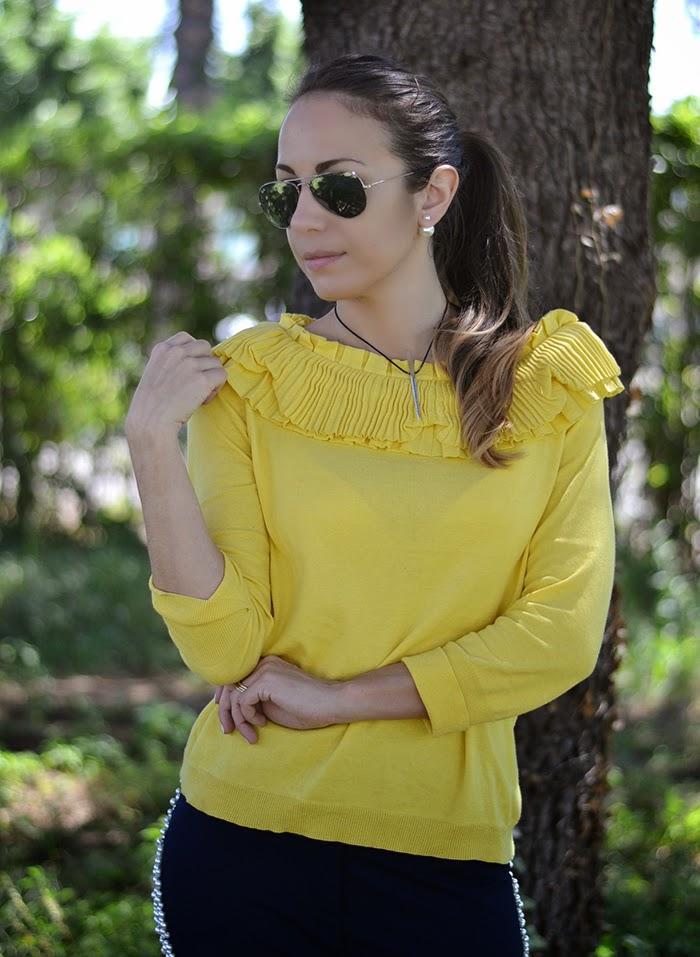 maglione cotone giallo acceso
