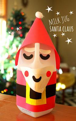 Easy Recycled Craft- Milk Jug Santa Claus!