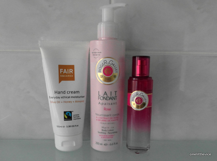 One Little Vice Beauty Blog: fair squared almond hand cream roger & gallet rose body lotion and fragrant water review