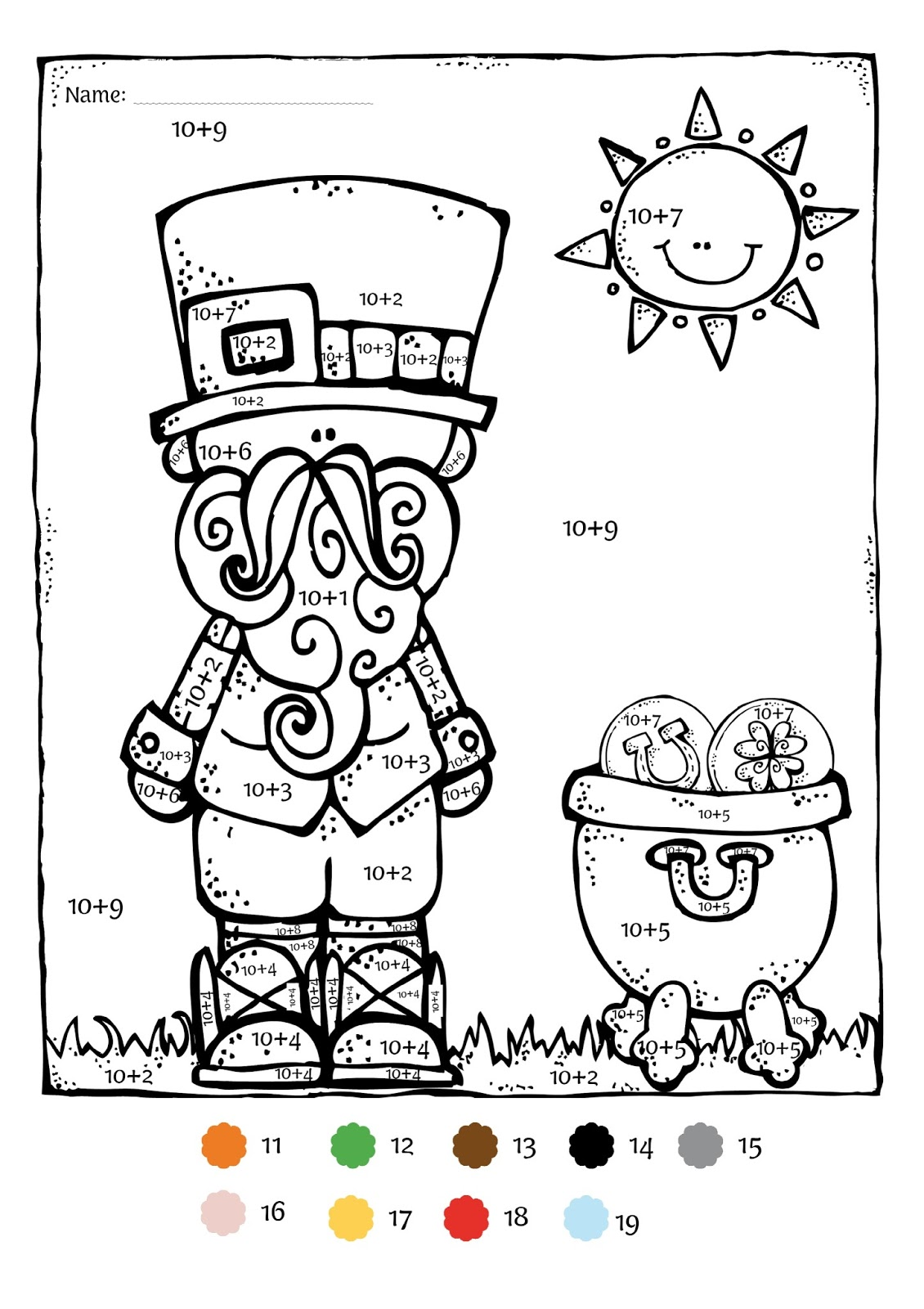 Math color worksheets for 1st grade - St Patrick S Day Math Freebie Kindergarten And 1st Grade