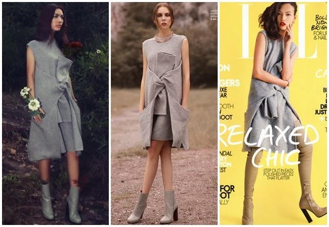 Same or Not 撞衫:Céline 灰色腰間綁袖毛呢洋裝