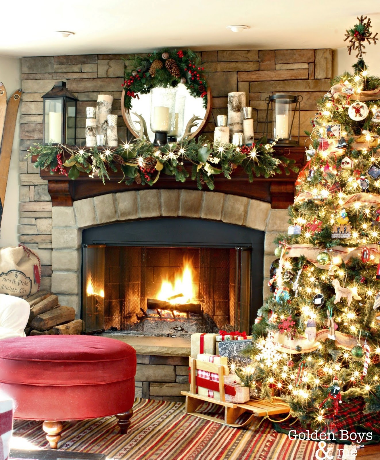 Golden boys and me holiday home tour 2014 for How to decorate a fireplace for christmas