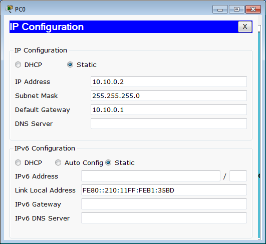 IP configuration PC0
