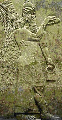 Месопотамия, Ирак, колыбель цивилизации, шумерский барельеф, бог Энки держит плазменный лазер, чечевица