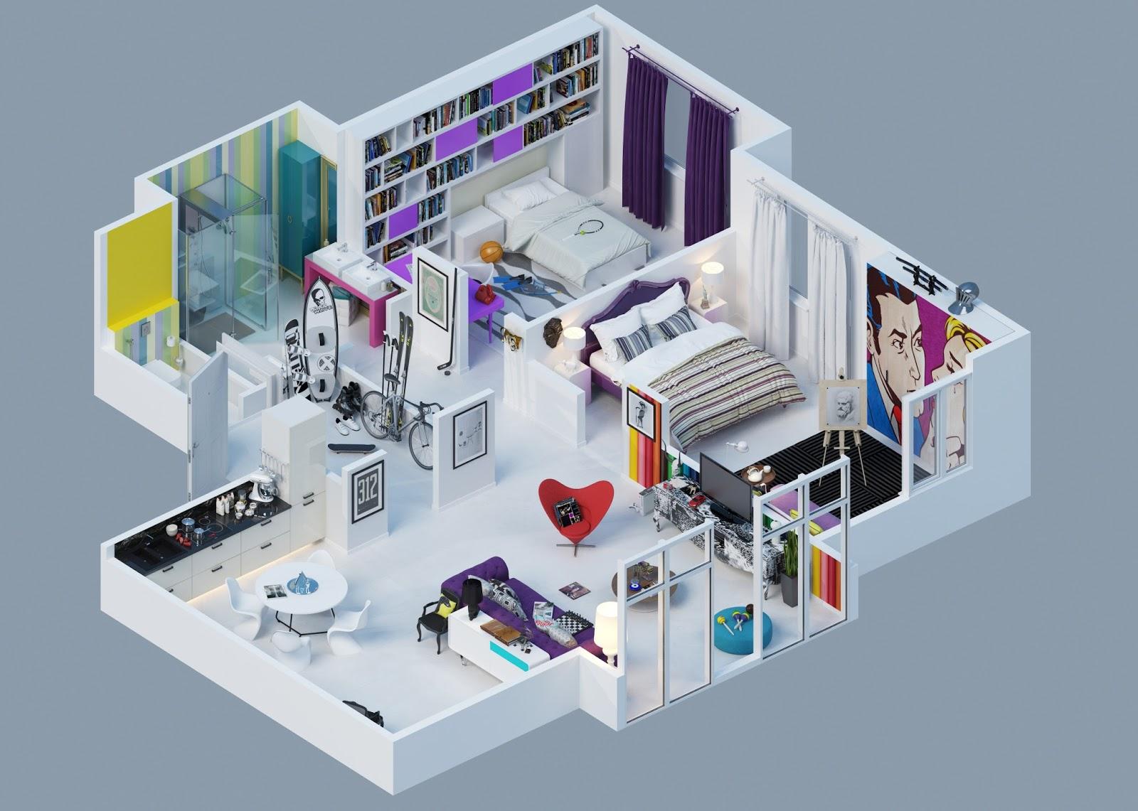 Modern one bedroom apartment design