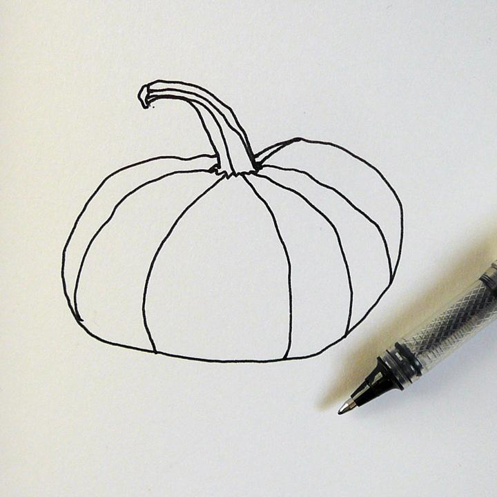 Contour Line Drawing Pumpkin : Making handmade books a pen and water brush pumpkin