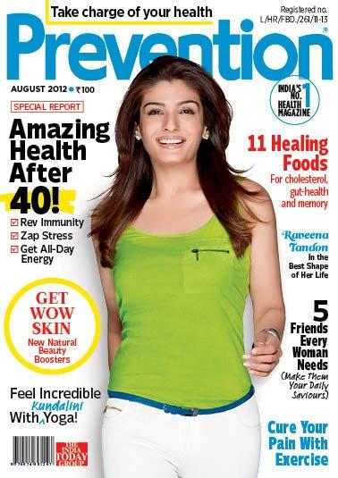 ravina tandon on the cover of prevention magazine - august 2012