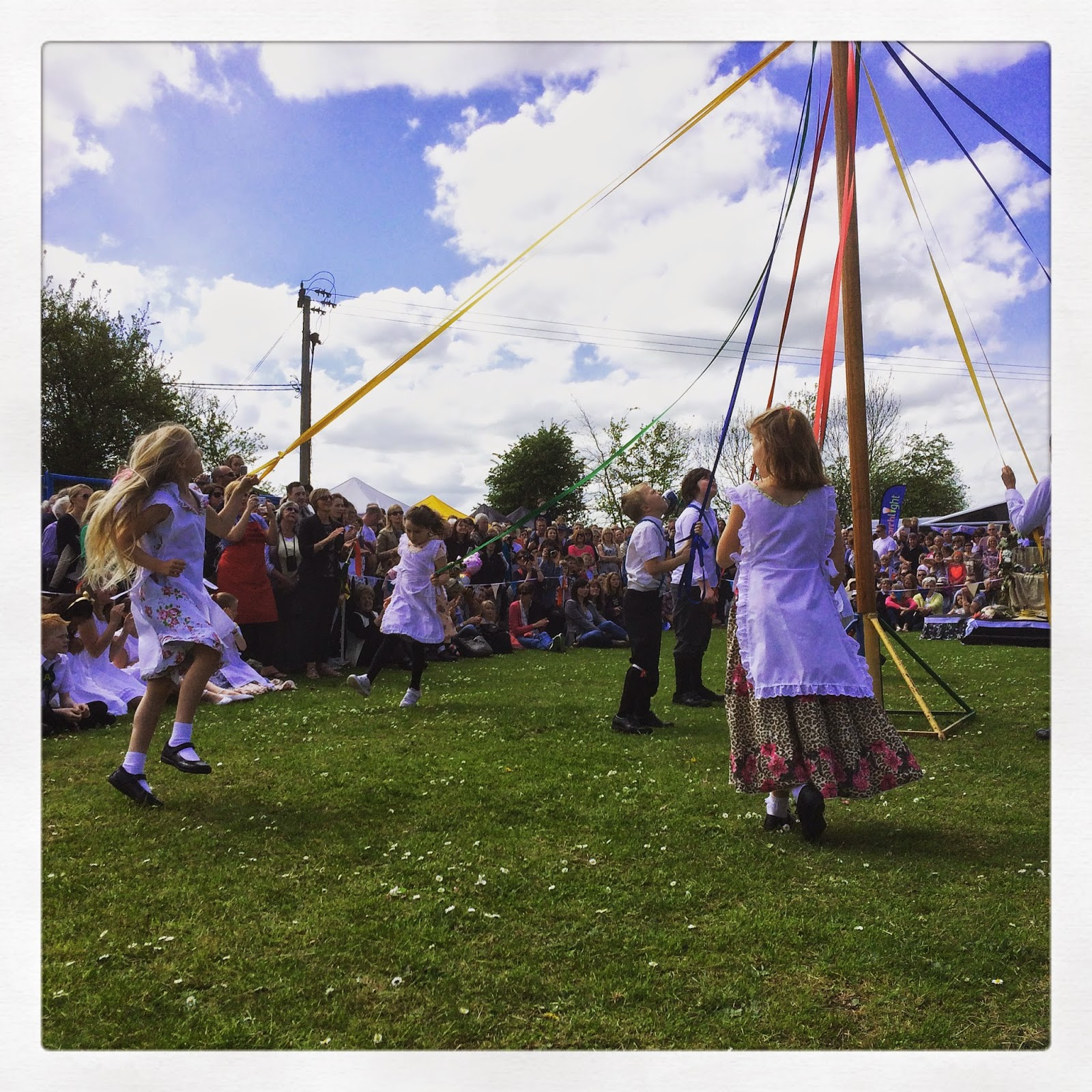 English Maypole dancers