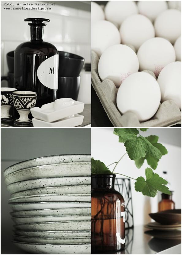 köksdetaljer, i köket, tallrikar, ägg, apoteksflaska,