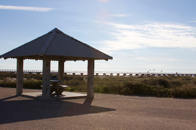Covered Picnic Table  at Jetty Park-Jetty Pier and Gulf of Mexico in Background-Matagorda, Texas