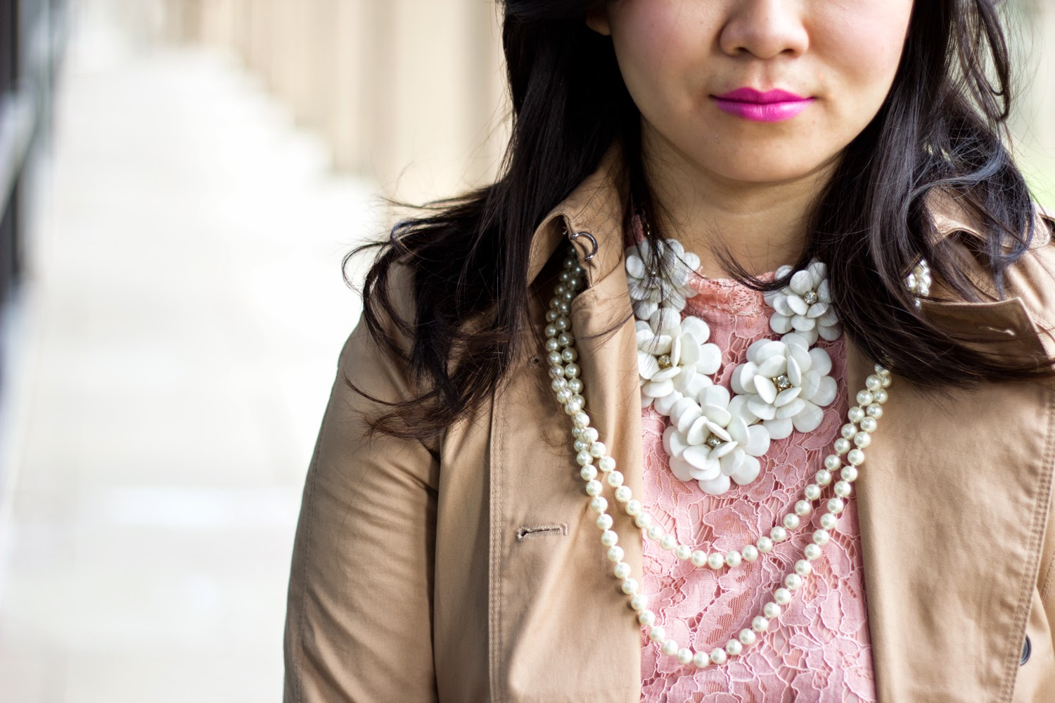 Pink-Lace-Dress, Trench-Coat, Statement-Necklace, pearls- accessory, Spring-Look