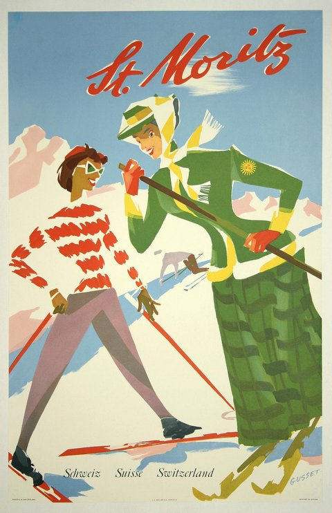 classic posters, free download, graphic design, retro prints, travel, travel posters, vintage, vintage posters, St. Moritz, Schweiz Suisse Switzerland - Vintage Ski Travel Poster