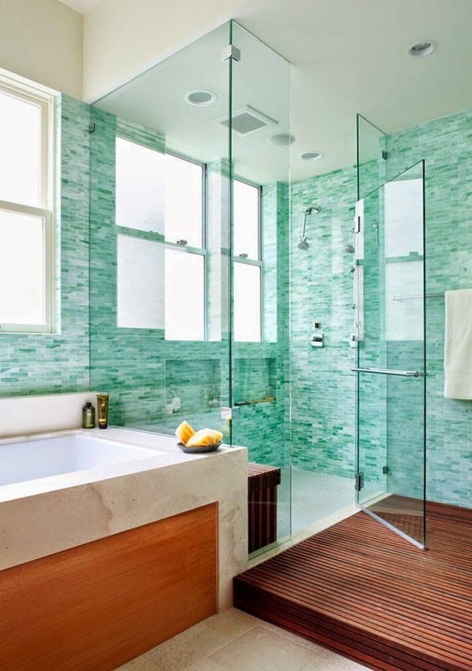 Современная ванная комната в бирюзовом цвете