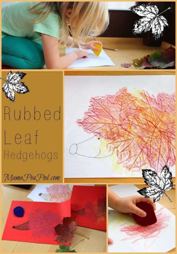 rubbed leaf hedgehogs art for preschoolers collage