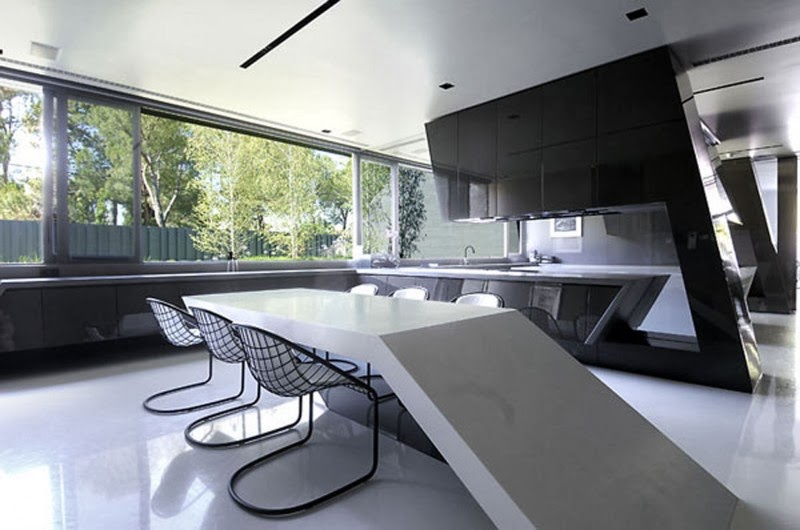 Huge Concrete House Design With Black Interior And Exterior