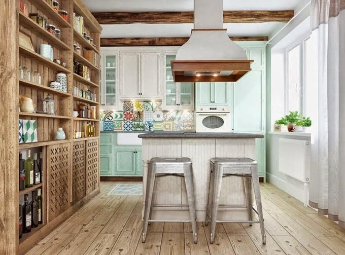 Decoracion Escandinava Rustica ~ Fijaros en los azulejos de mosaico hidr?ulico del frente de la cocina