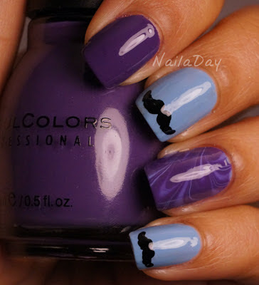 NailaDay: Movember Moustache and Marble Mani