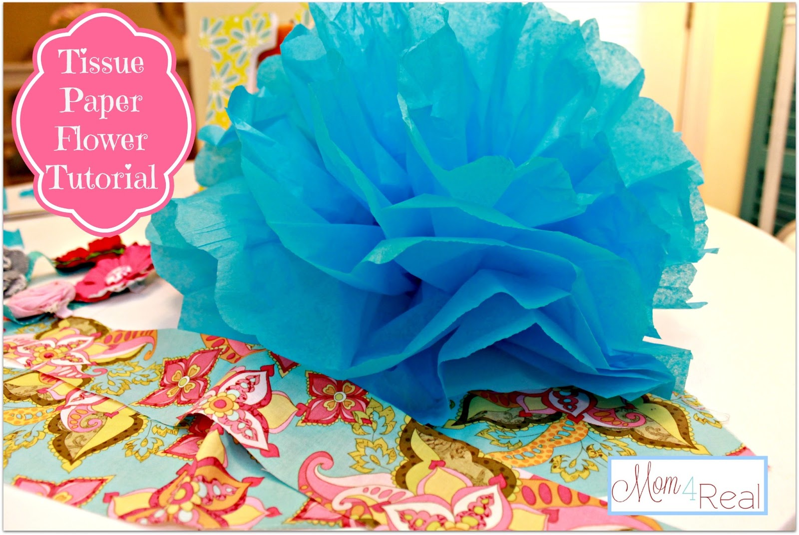 Tissue Paper Flower Pom Tutorial Big Announcement Mom 4 Real