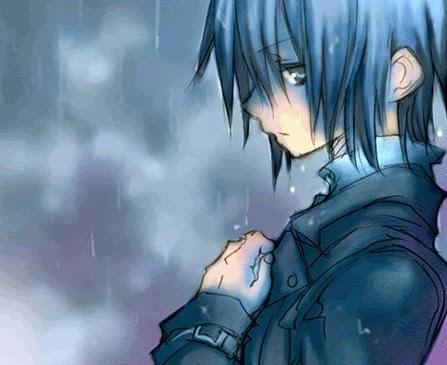 Ảnh hoạt hình chàng trai buồn dưới trời mưa