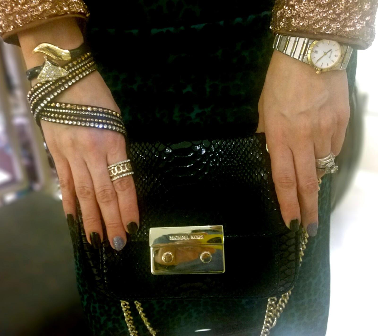 Michael Michael Kors Black Patent Python Small Sloan Shoulder Flap Bag 86