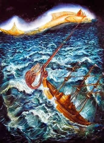 Lord Vishnu Incarnation - Matsaya - Sailing the boat