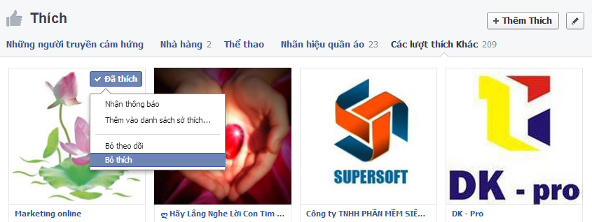 Cach unlike tung fanpage facebook
