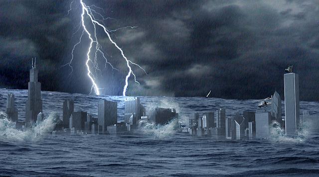 Tsunami sobre prédios com trovoes, arte digital