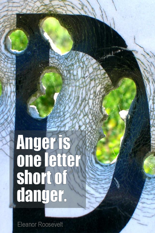 visual quote - image quotation for EMOTIONS - Anger is one letter short of danger. - Eleanor Roosevelt
