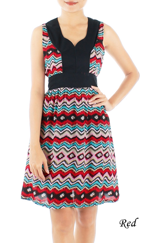 Ikat Print Dress with Contrast Detail