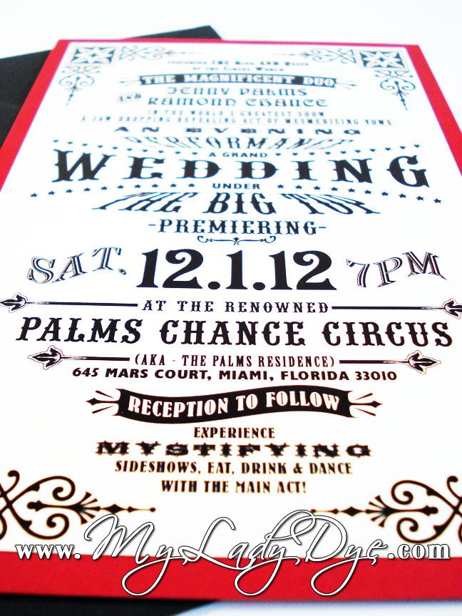 Vintage Circus Wedding Invitation - My Lady Dye