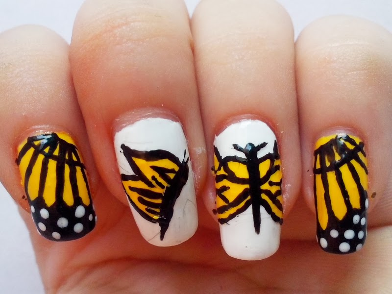 31DC2014 Day 3: Yellow Nails - Butterfly Nails