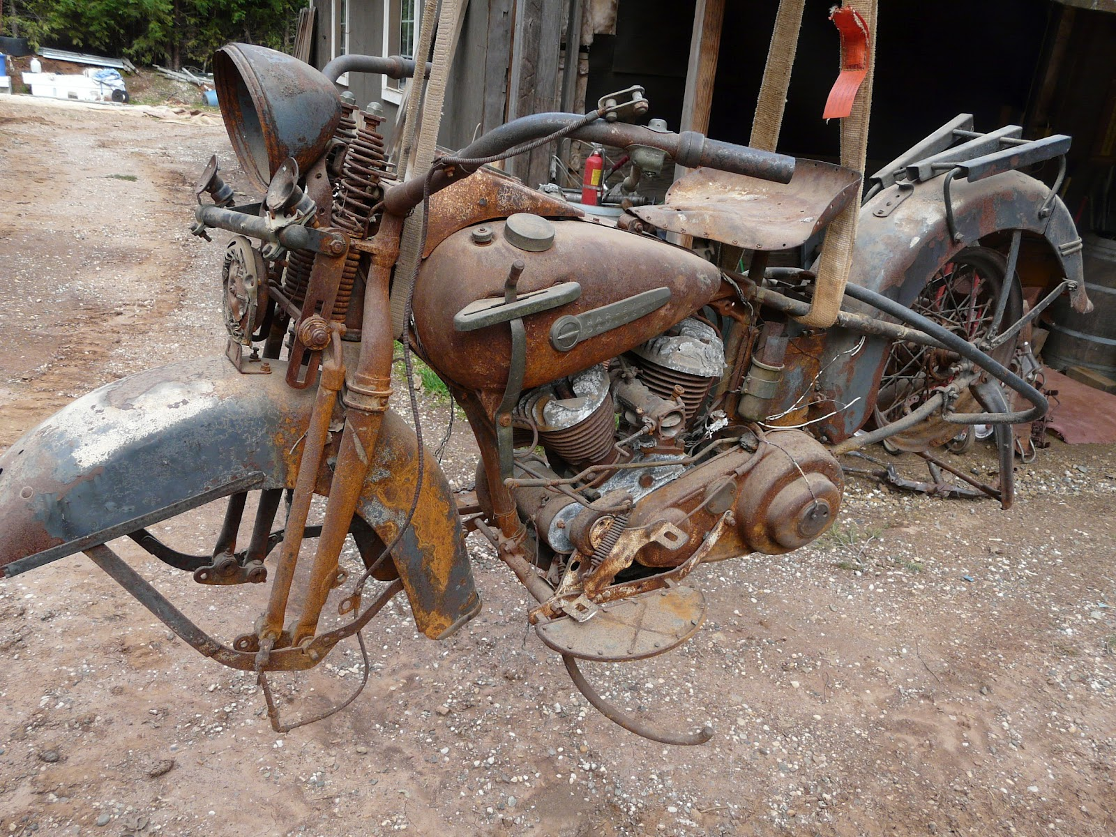 Rusty 1950 Harley Flathead Motorcycle Left View