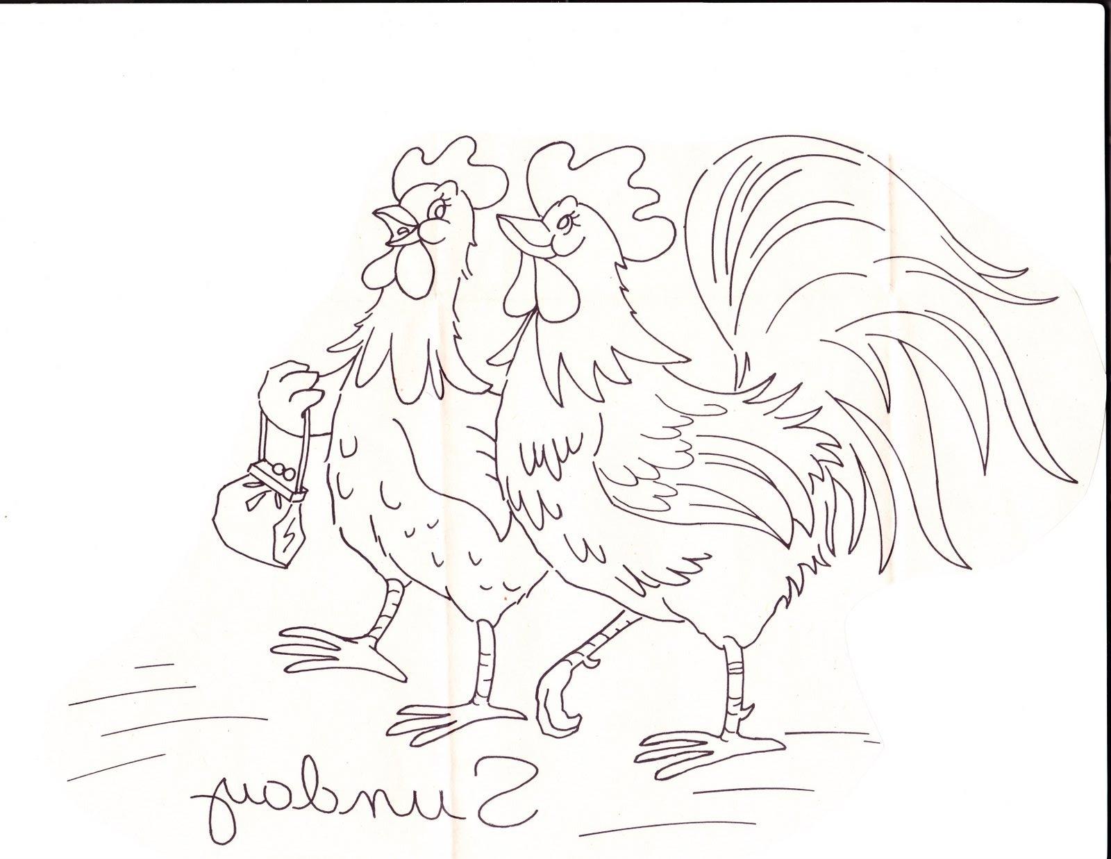 Dibujos de Gallinas y pollitos para imprimir 03   Pop Guernica