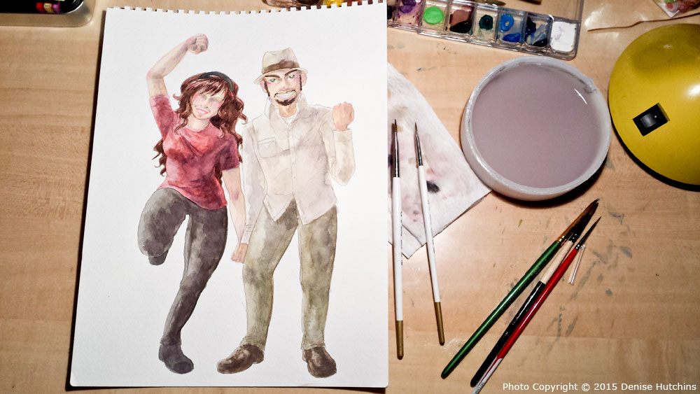 Artist and Her Beau, in Watercolor