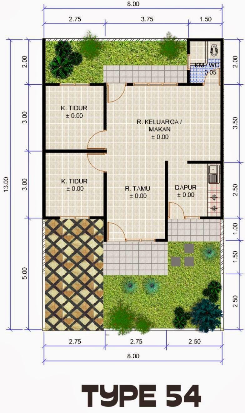 Inspirasi Desain Rumah Anda Denah Rumah Minimalis Type 54