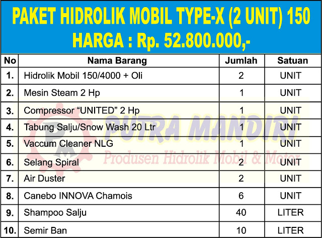 PAKET HIDROLIK MOBIL TYPE-X (2 UNIT) 150