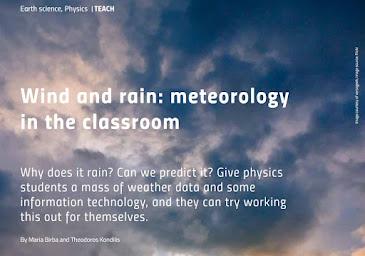 """Science in School: """"Αερας και βροχη, Η μετεωρολογια στην ταξη"""""""