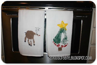 Let kids create homemade gift hand and foot stamped dish towels - Seven mistakes we make when using towels ...