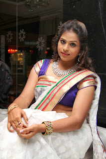 Telugu Television TV Actress Hemalatha  Pictures in White Saree at  Birthday Party  0042