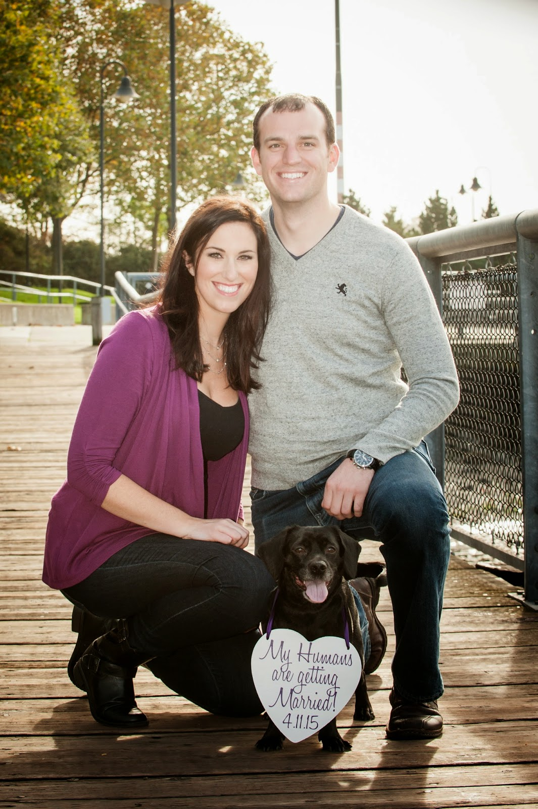 Save the Date announced by Watson, Brian and Erin's dog - Patricia Stimac, Seattle Wedding Officiant